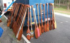 Canoe paddles made by students for challenge program