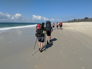 Students walking down the beach