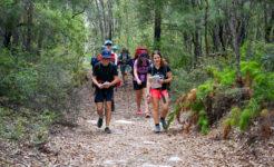 Students hiking on Fraser for Gold Award