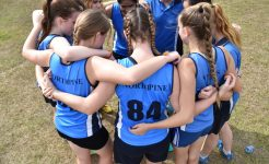 Students huddled in secondary curricular sport program