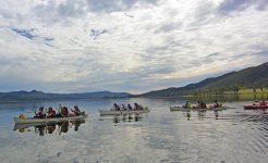 Students canoeing in challenge program
