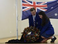 School Captains laying wreath at ANZAC Memorial Service