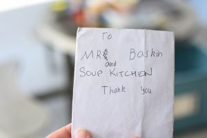 Thank you note from student at Soup Kitchen