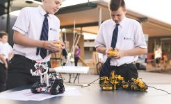 Students using robotics as part of challenge program