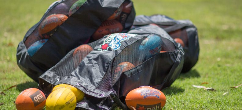 Bags of footballs