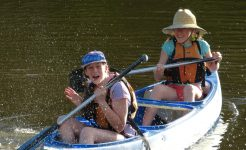 Students canoeing in year level camps program